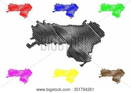 Srem District (republic Of Serbia, Districts In Vojvodina) Map Vector Illustration, Scribble Sketch