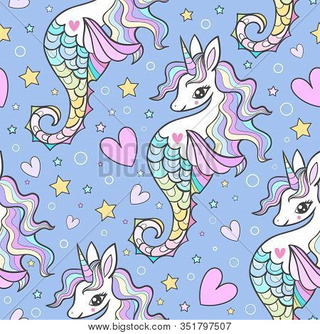 Seamless Marine Pattern. Seahorses, Unicorns With A Rainbow Mane On A Blue Background. Vector