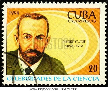Moscow, Russia - February 18, 2020: Stamp Printed In Cuba, Shows Pierre Curie (1859-1906), Nobel Lau