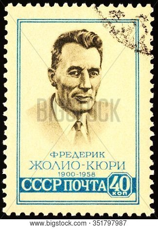 Moscow, Russia - February 19, 2020: Stamp Printed In Ussr (russia), Shows French Scientist Frederic
