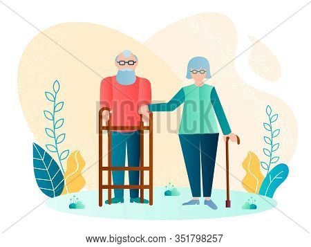 Handicapped Elderly Couple Vector Illustration. An Elderly Man Moves With The Help Of A Walker, Hand