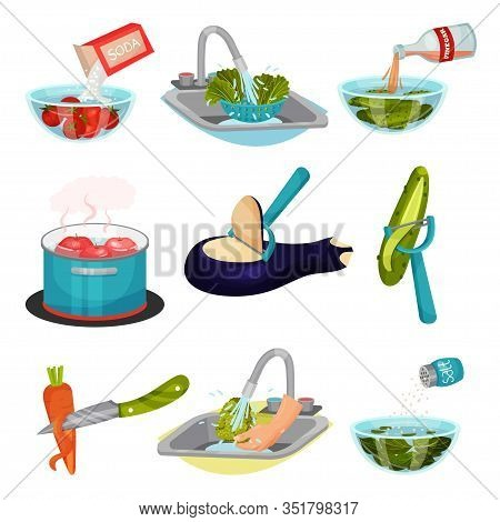 Vegetables In Cooking Process With Peeling And Cleaning Vector Set