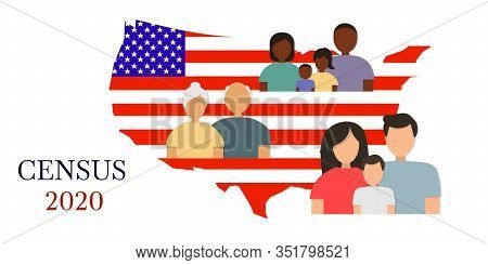 Silhouettes Of Men, Women And Children Of Different Ages Against The Background Of The American Flag