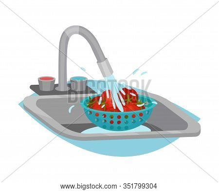 Tomatoes Cleaning And Washing With Tap Water Process Vector Illustration