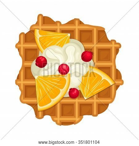 Crunchy Waffle Piece With Textured Surface And Whipped Cream Topping Wtih Lemon Slices Vector Illust