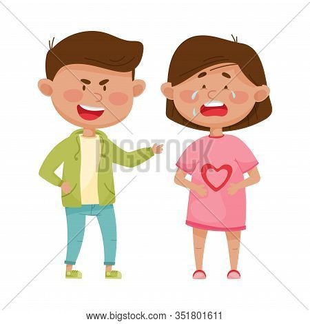 Little Boy Teasing And Laughing At Crying Girl Vector Illustration