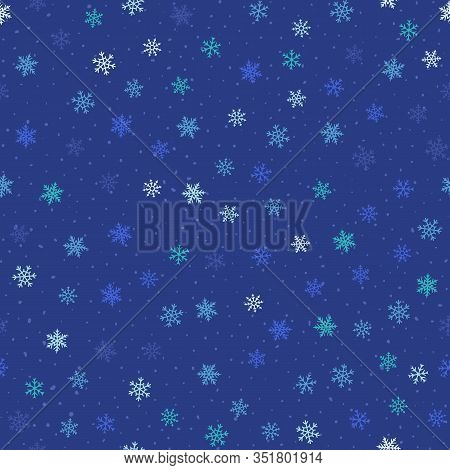 Winter Seamless Pattern. Blue Christmas And New Year Background With Small Scattered Snowflakes, Dot