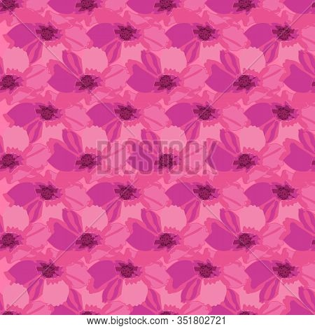 Cosmos Harmony-flowers In Bloom Seamless Repeat Pattern. Fresh Abstract Cosmos Flower Shapes Pattern
