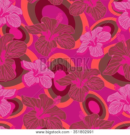 Hibiscus Fluorescent-flowers In Bloom Seamless Repeat Pattern. Hibiscus And Fluorescent Flowers Vibr