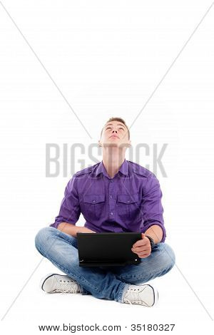 Student With Laptop Looking Up Isolated