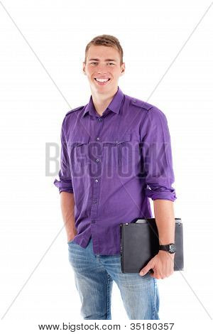 Young Student With Laptop Smiling