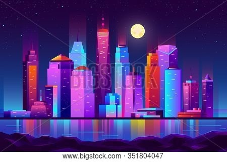 Modern New York City Cartoon Night Landscape. Urban Cityscape Background With Skyscrapers Buildings