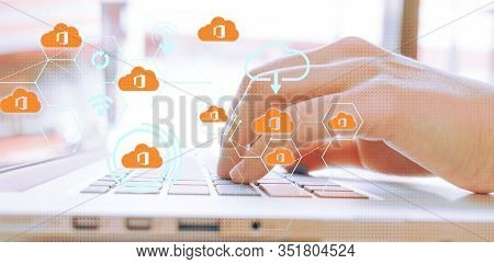 Office 365 Icon Scatter Business Woman Hand Typing On Laptop Keyboard