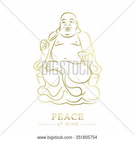 Golden Buddha Figure Peace Of Mind Isoladet On White Background Vector Illustration Eps10