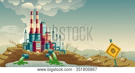 Air, Water And Soil Pollution By Industrial Production Cartoon Concept. Working Plant, Factory Emitt