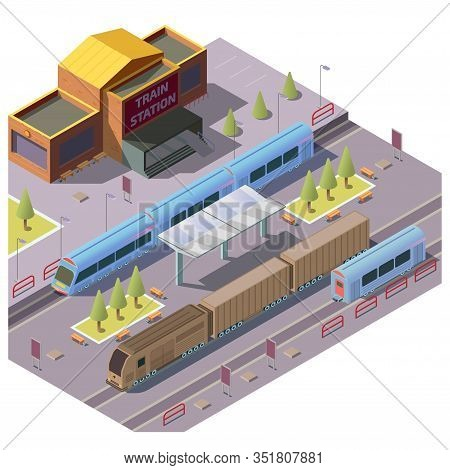 Modern Railway Station Isometric With Passenger Train Stop For People Embarking And Disembarking, Di