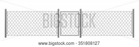Chain-link, Rabitz Fence Fragment With Metal Pillars, Wicket Realistic Isolated On White Background.