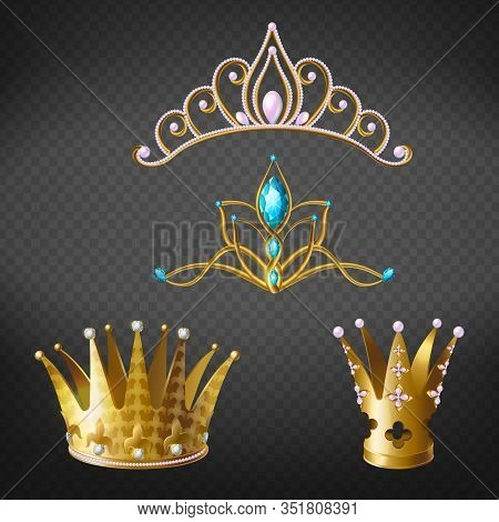 Crown, Tiara, Golden Diadem For Princess Or Queen Set Isolated On Background. Royal Crowning Headdre