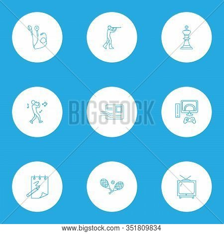 Hobby Icons Line Style Set With Tennis, Chess, Video Game And Other Envelope Elements. Isolated Vect