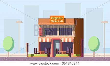 Road Cafe, City Cafeteria, Coffeeshop Or Fast Food Street Restaurant Two-storey Building With Outdoo
