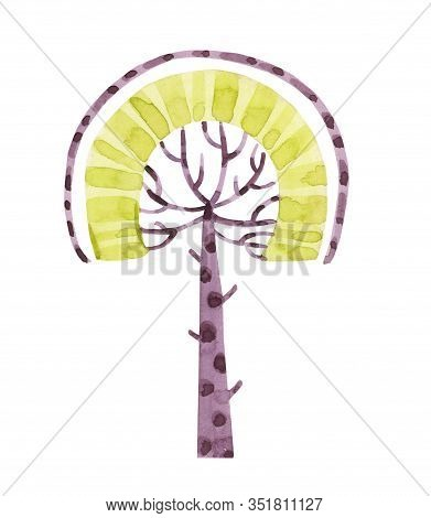 Watercolor Fairy Tale Nursery Tropical Cute Forest Tree. Autumn, Spring, Summer Tree. Cartoon Hand P