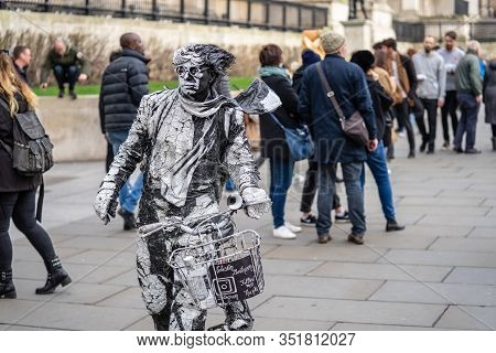 London, January 26, 2020. A Living Statue Is A Street Artist Who Poses As A Statue Or Mannequin, Usu