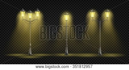 Vintage Street Lights Glowing With Yellow Light 3d Realistic Set Isolated On Background. Retro Archi