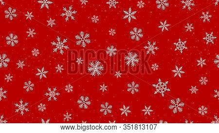 Vector Snowflakes Background. Elegant Red Christmas And New Year Seamless Pattern With White Snow, S
