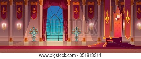 Medieval Castle, Royal Palace Spacious Lit With Burning Candles, Throne Room Or Ballroom Empty Inter