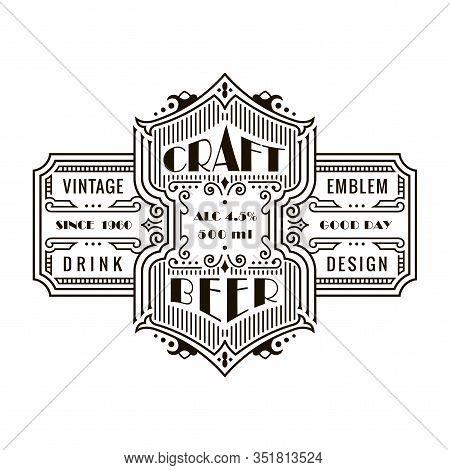 Vintage Beer Frame And Label. Craft Premium Logo. Design Emblem On Transparent Background