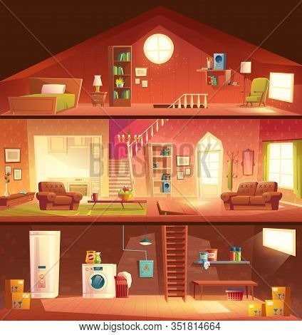 Tree-storey House Or Cottage Cross Section Building Cartoon Interiors Set With Laundry In Basement,