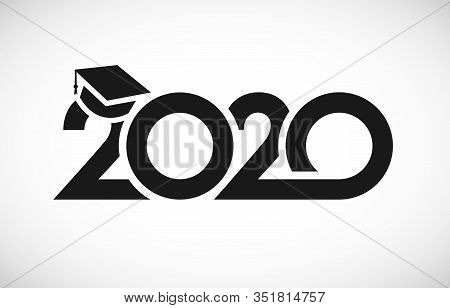 Class Of 2020 Graduation Logo. T-shirt Sign, Monochrome Vector Mask Concept. Happy Holidays Invitati