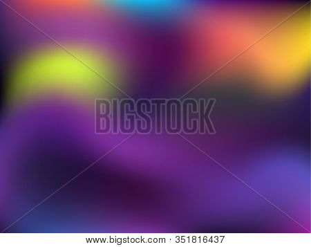 Holographic Gradient Neon Vector Illustration. Vivid Neon Party Graphics Background. Polar Lights Li
