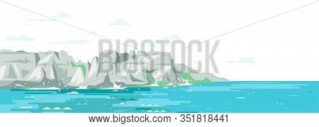 Rocky Cliffs Ocean Landscape Background In Flat Style, Sea Panorama Of Beach Coast In Simple Geometr