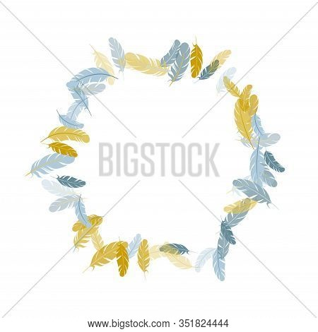 Elegant Silver Gold Feathers Vector Background. Wildlife Nature Isolated Plumage. Flying Feather Ele