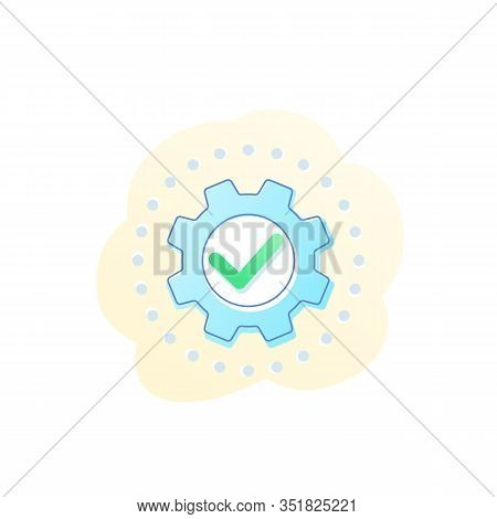 Execution Vector Icon With Cogwheel, Gear, Eps 10 File, Easy To Edit