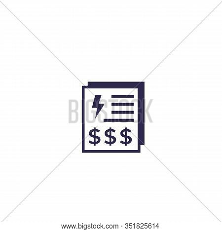 Electricity Utility Bills, Payments Icon, Eps 10 File, Easy To Edit