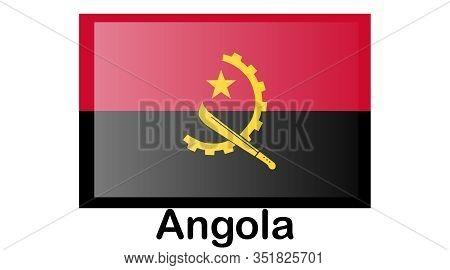 Flag Of Angola.angola Icon Illustration, National Flag For Country Of Angola Isolated, Banner