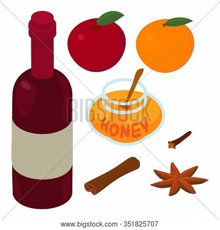Mulled Wine Ingredients Icon. Isometric Of Mulled Wine Ingredients Vector Icon For Web Design Isolat