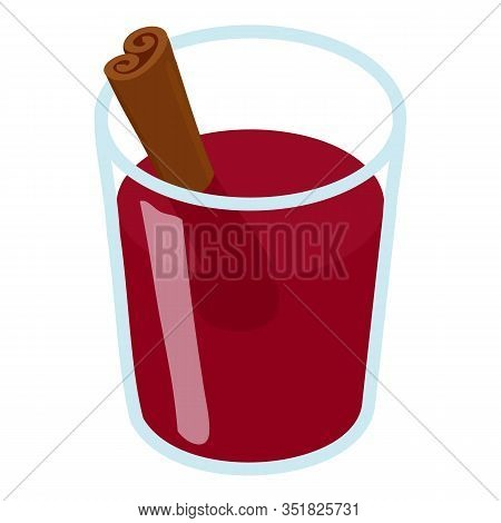 Glass Mulled Wine Icon. Isometric Of Glass Mulled Wine Vector Icon For Web Design Isolated On White
