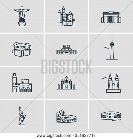 Vector Illustration Of 12 Tourism Icons Line Style. Editable Set Of Cn Tower, Colosseum, Christ De R