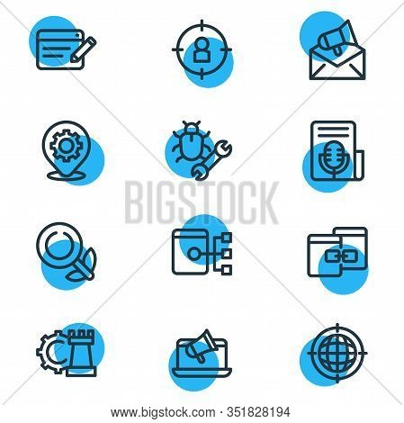 Illustration Of 12 Advertising Icons Line Style. Editable Set Of Game Developing, Sitemap, Press Rel