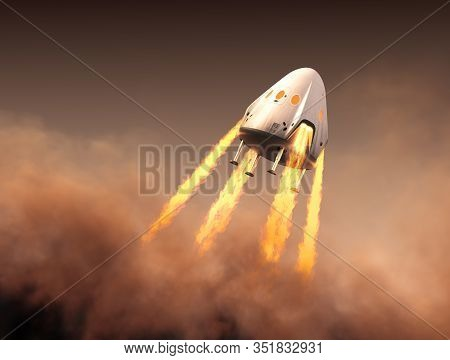 Private Spacecraft Module Launch In The Smoke. 3d Illustration.