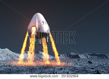 Private Spacecraft Module Lands On Rocky Planet. 3d Illustration.