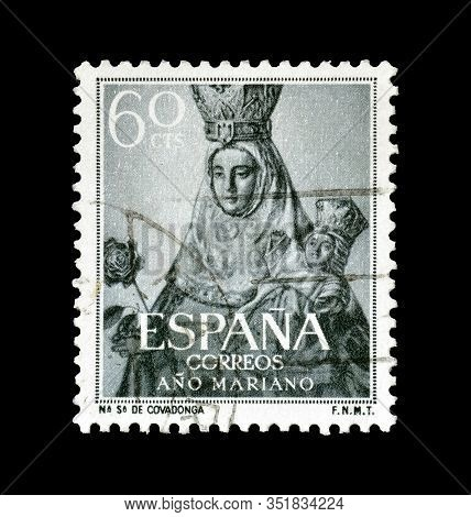 Cancelled Postage Stamp Printed By Spain, That Shows Our Lady Of Covadonga, Circa 1954.