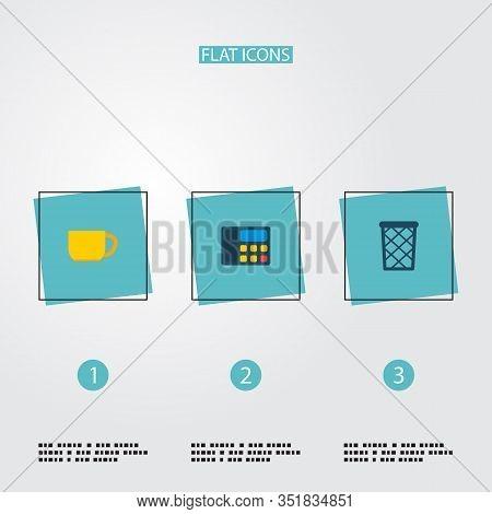 Set Of Office Icons Flat Style Symbols With Telephone, Wastebasket, Cup And Other Icons For Your Web