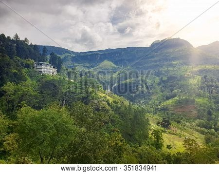 Landscape Of Luxurious Villa And Tea Plantations On The Slopes Of Mountains On Tropical Esland