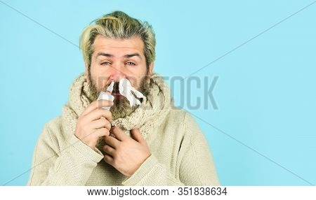 Cold Flu Remedies. Runny Nose Recovery. Runny Nose And Symptoms Of Cold. Fast Recovery. Man Scarf Ho