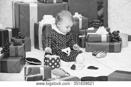 Baby First Christmas Once In Lifetime Event. Gifts For Child First Christmas. Little Baby Play Near