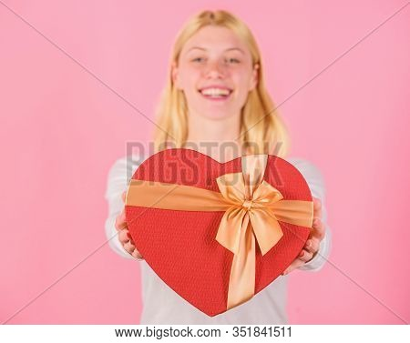 Female Hands Hold Gift Box. Prepared Something Special For Him. She Romantic Person. Valentines Gift